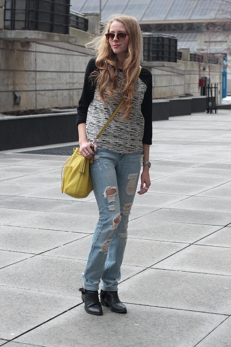 ripped jeans baseball shirt