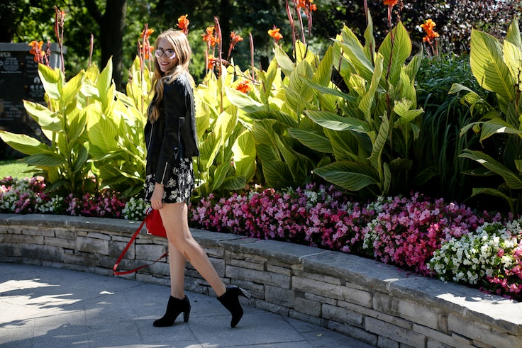 how to wear a romper in the fall leather jacket
