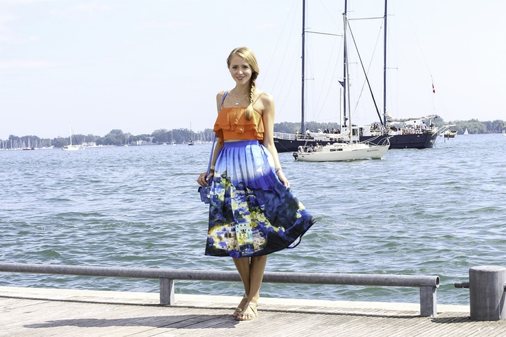 santorini print maxi skirt