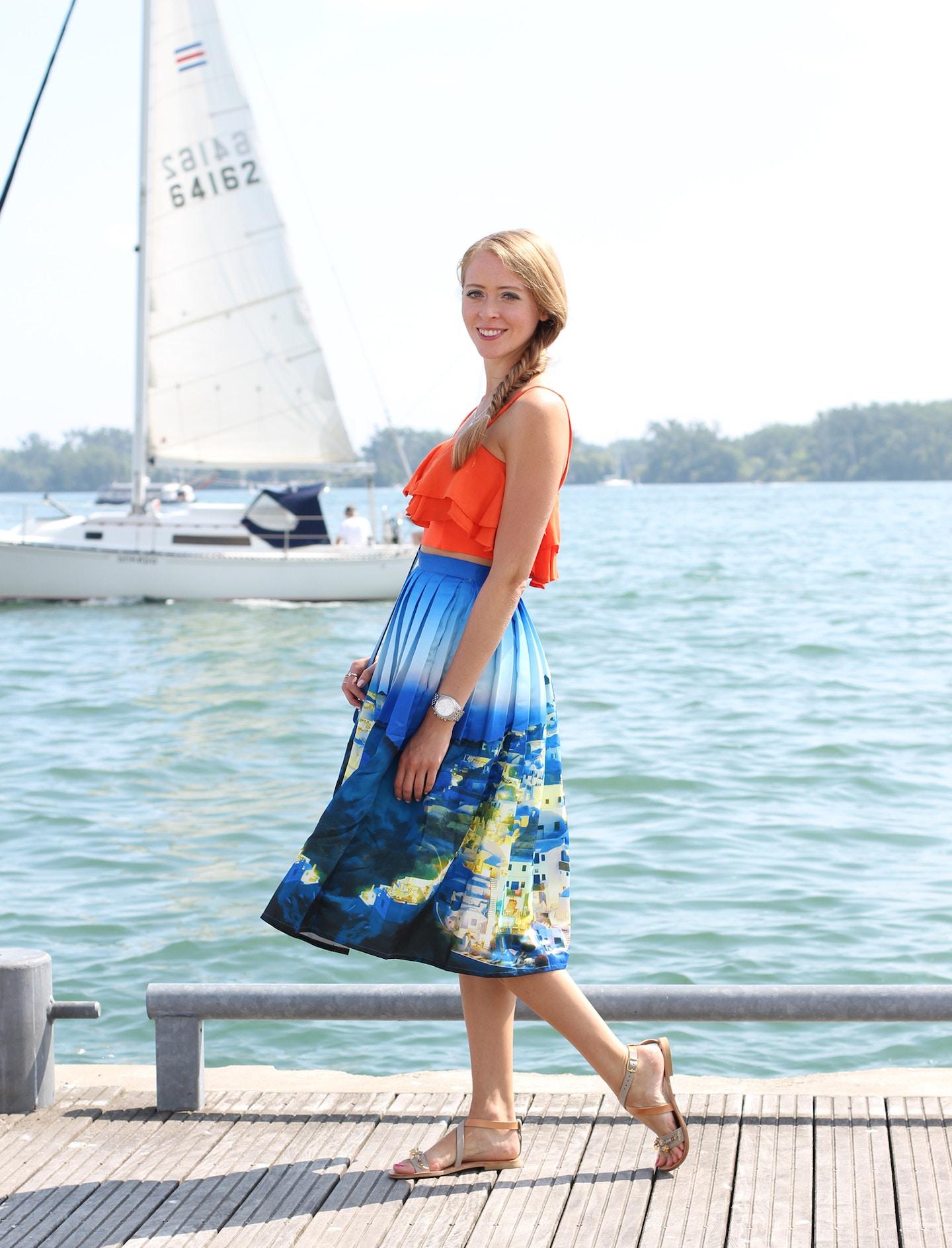 Santorini print skirt & Iris Sandals giveaway!
