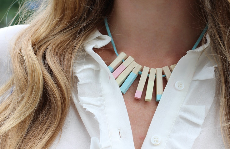 shop brika summer necklace wood colourblock