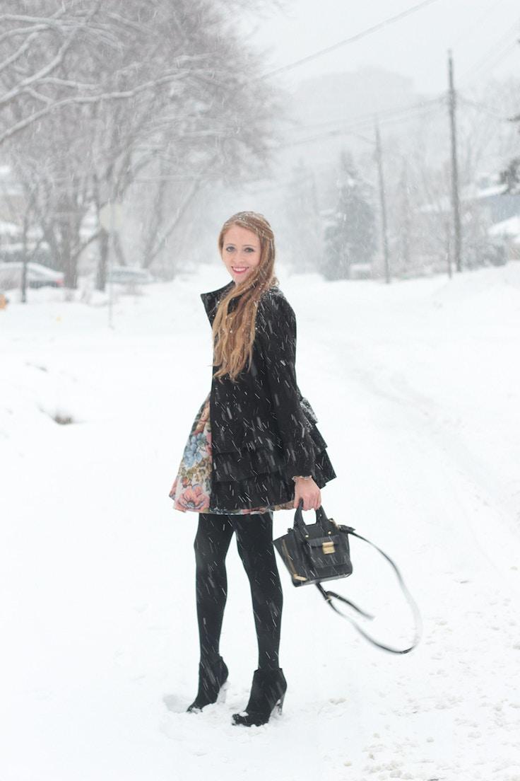snowstorm black wool coat