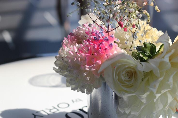 spraypainted flower arrangement