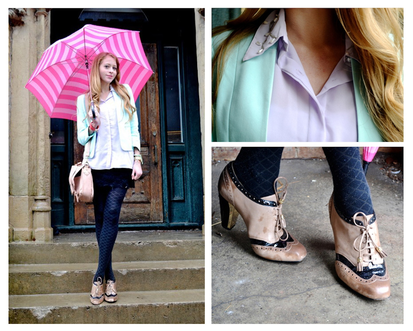 Spring Pastels and a Striped Umbrella – Featured on College Fashionista!