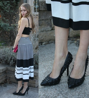 stripe maxi skirt spike black heels louboutin