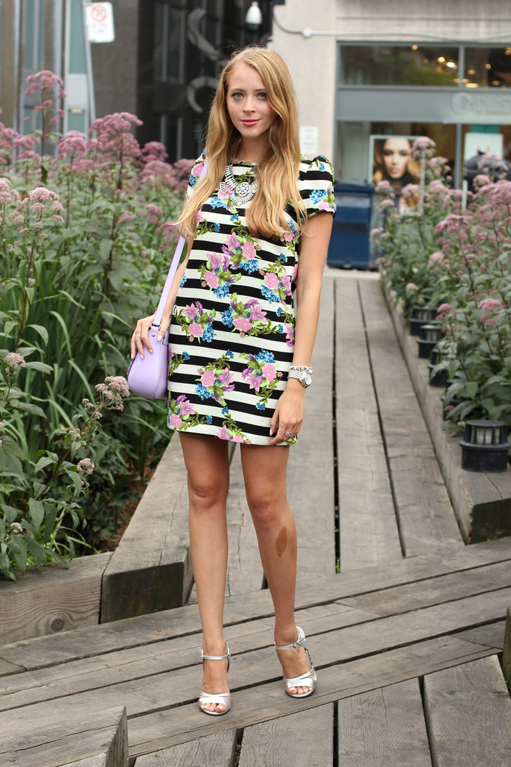 striped black and white floral dress silver sandals