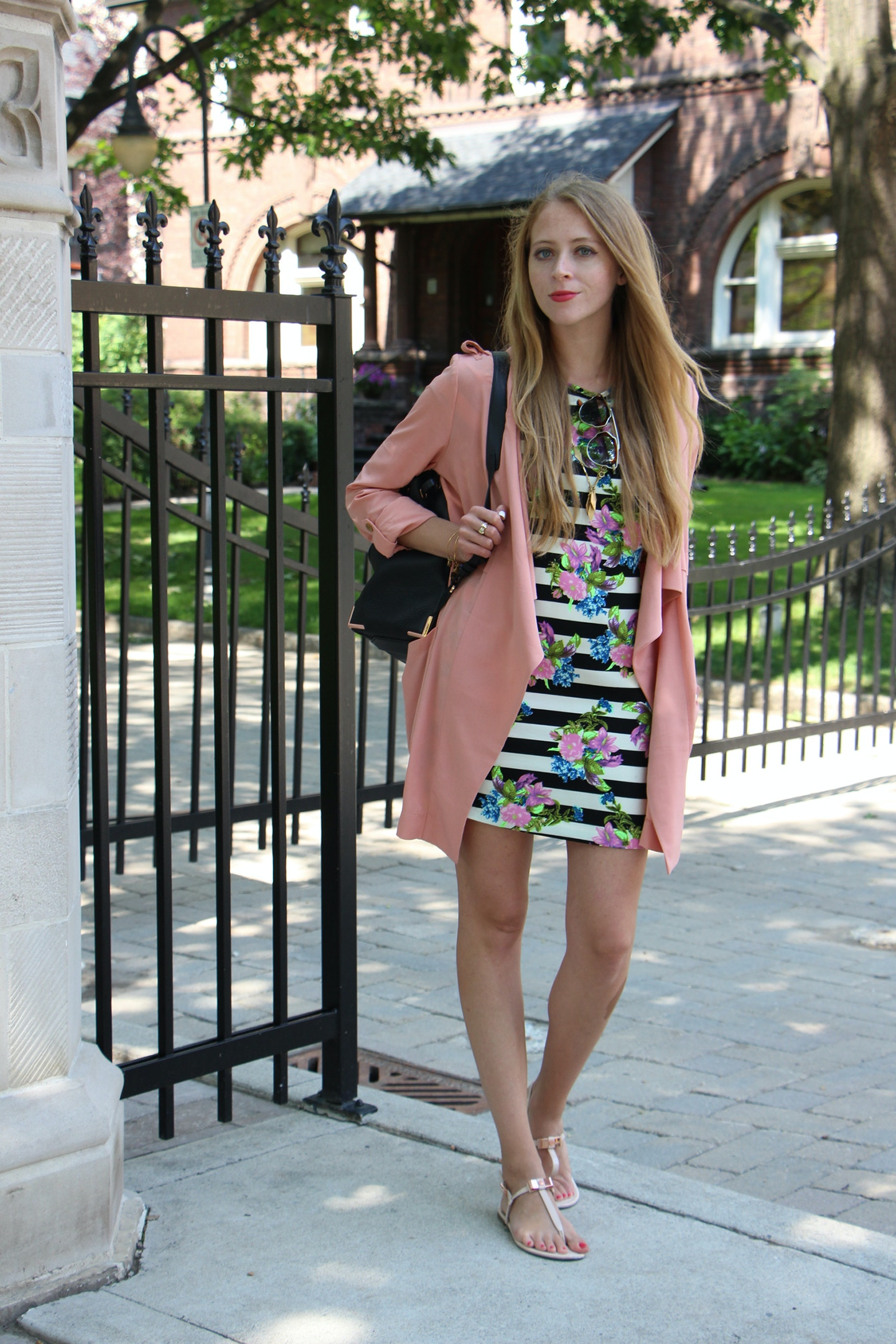 pink waterfall trench coat summer outfit
