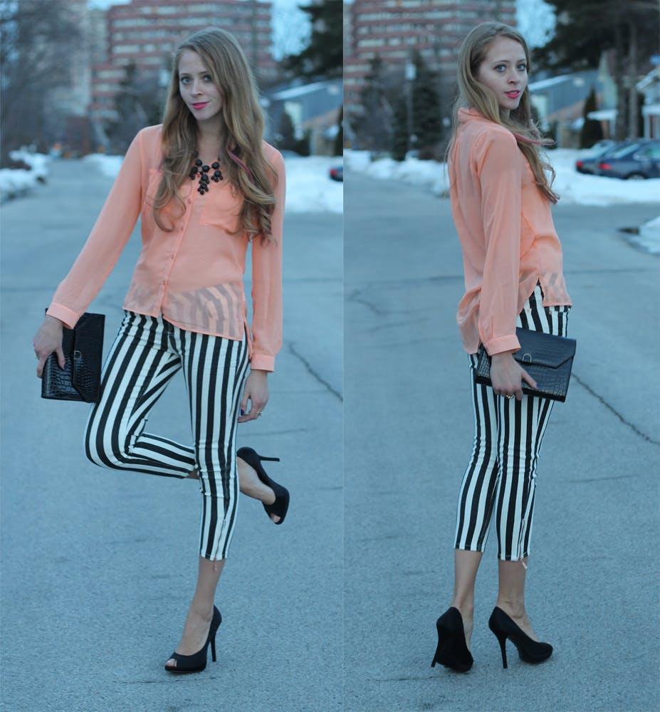 Black and White Striped Jeans