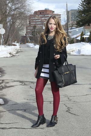 striped skirt red tights
