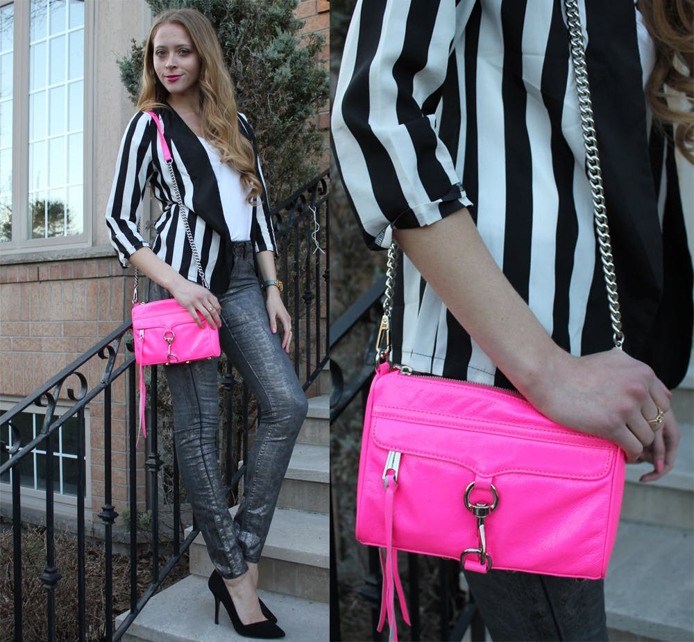 Black and White Striped Blazer and Rebecca Minkoff Mini M.A.C. Clutch