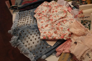 studded jean shorts and floral lace croptop