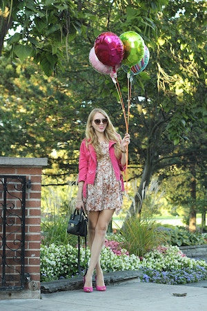suede jacket and floral dress