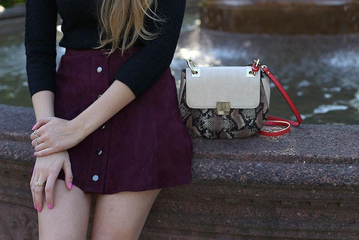 suede-skirt-snakeskin-purse