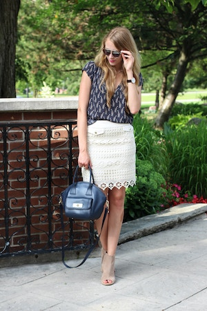 summer work outfit lace skirt