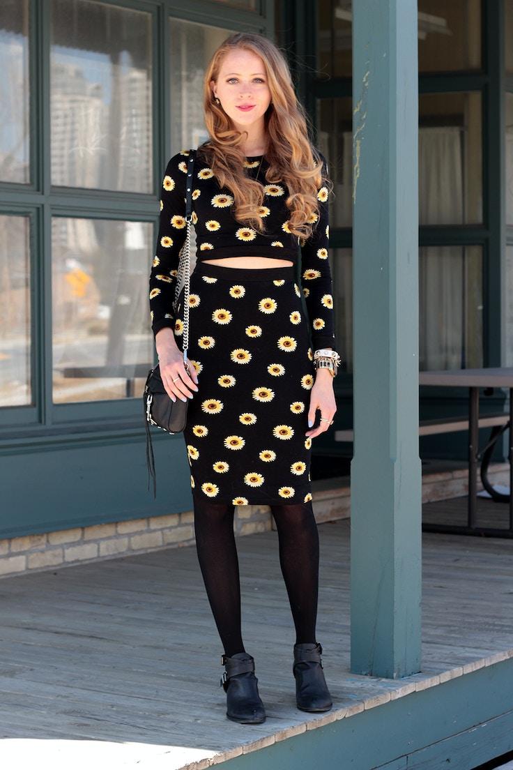 sunflower print crop top pencil skirt
