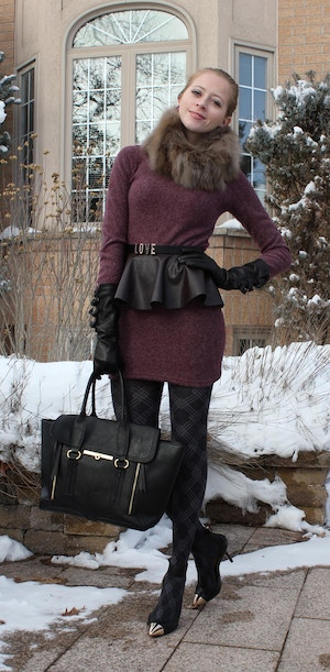 sweater dress and pumps