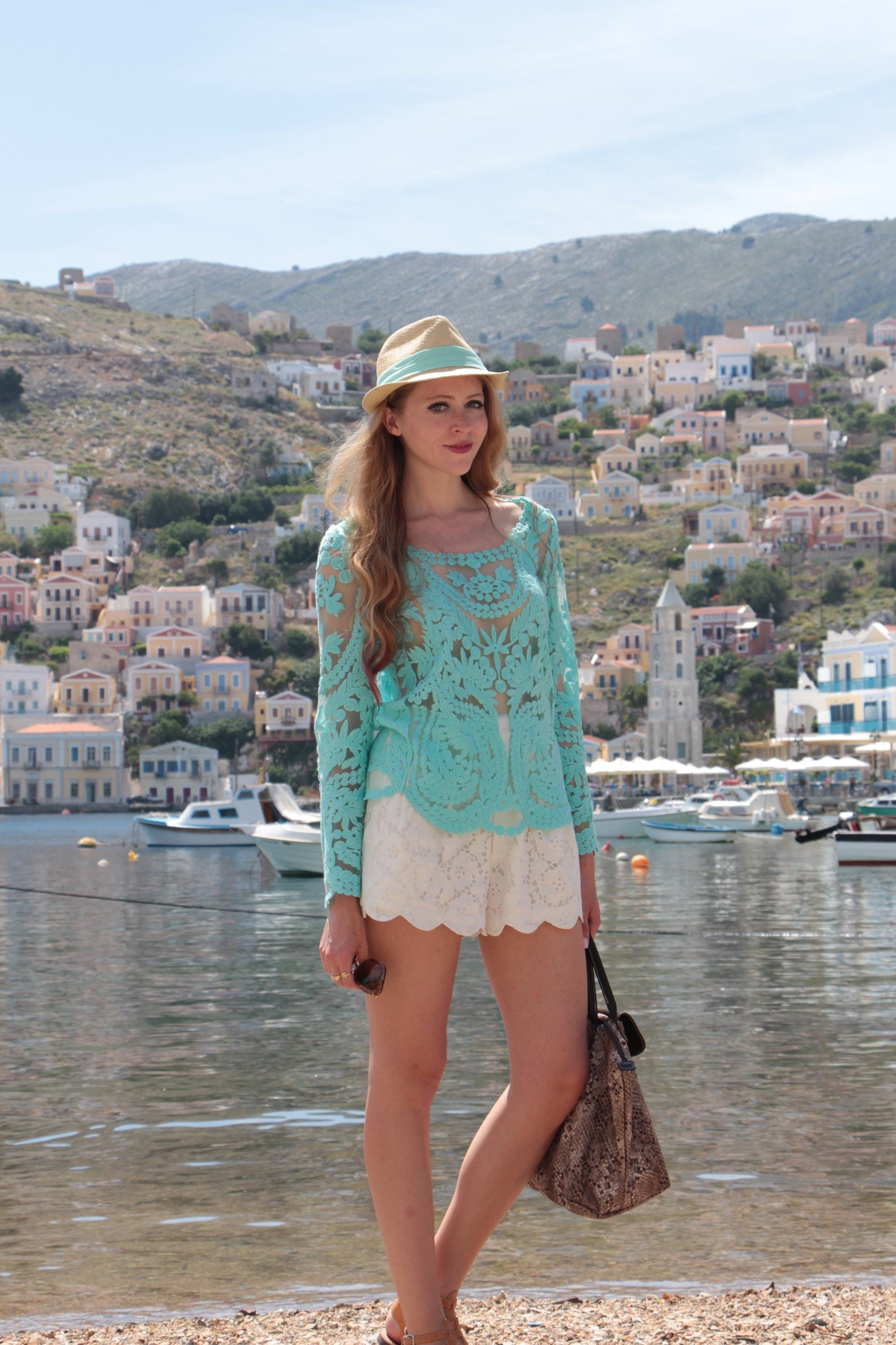symi greece mint crochet top white scalopped shorts