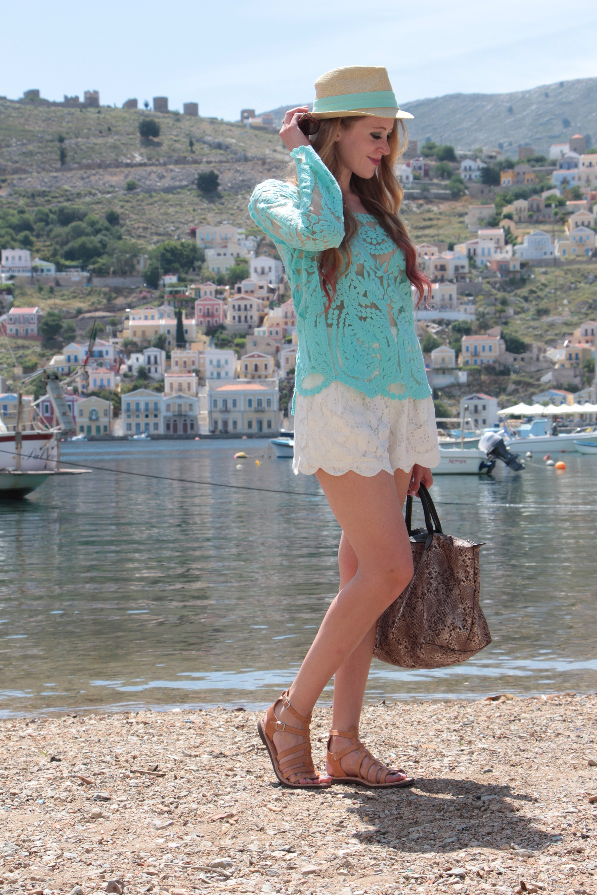 symi greece mint lace top