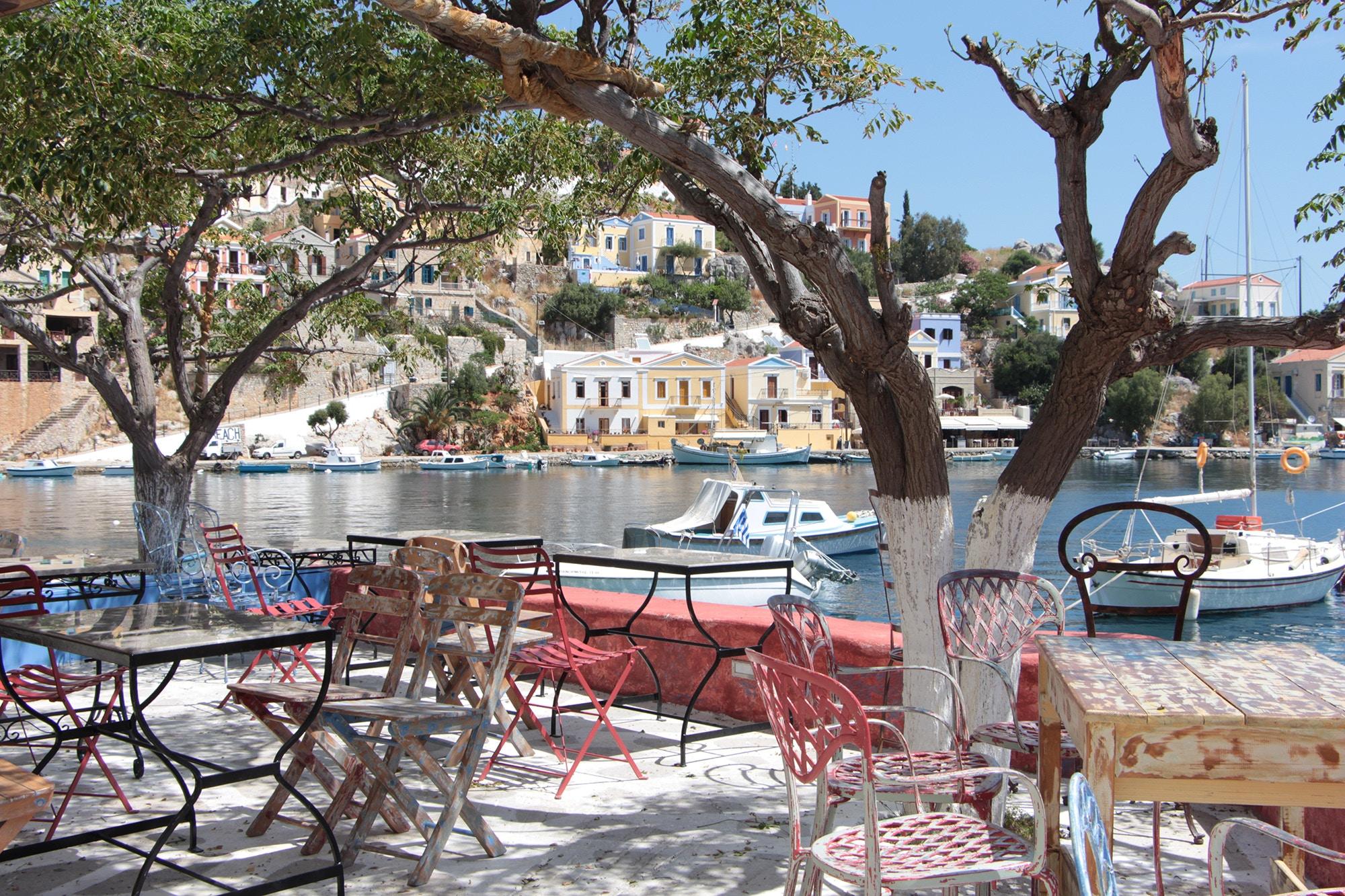 symi greece restaurant by water