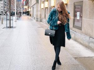 teal faux fur coat (2 of 8)
