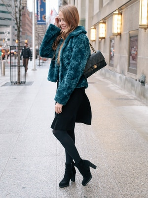teal faux fur coat (6 of 8)