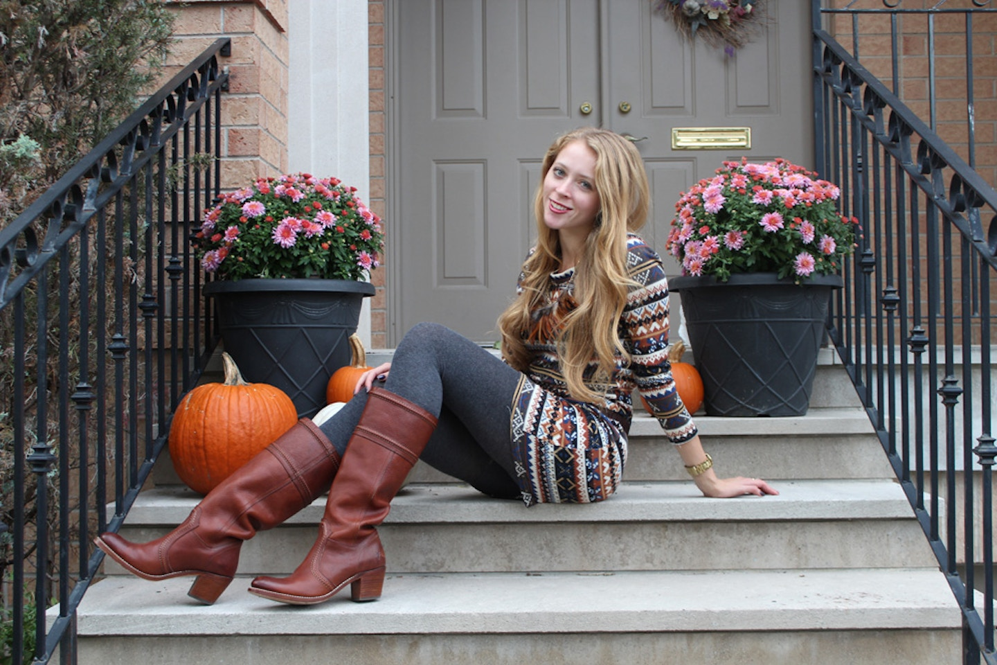 IKAT printed dress, Frye boots and feathers = Happy (Canadian) Thanksgiving!