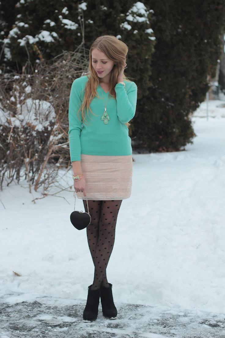 turquoise cashmere minkpink skirt