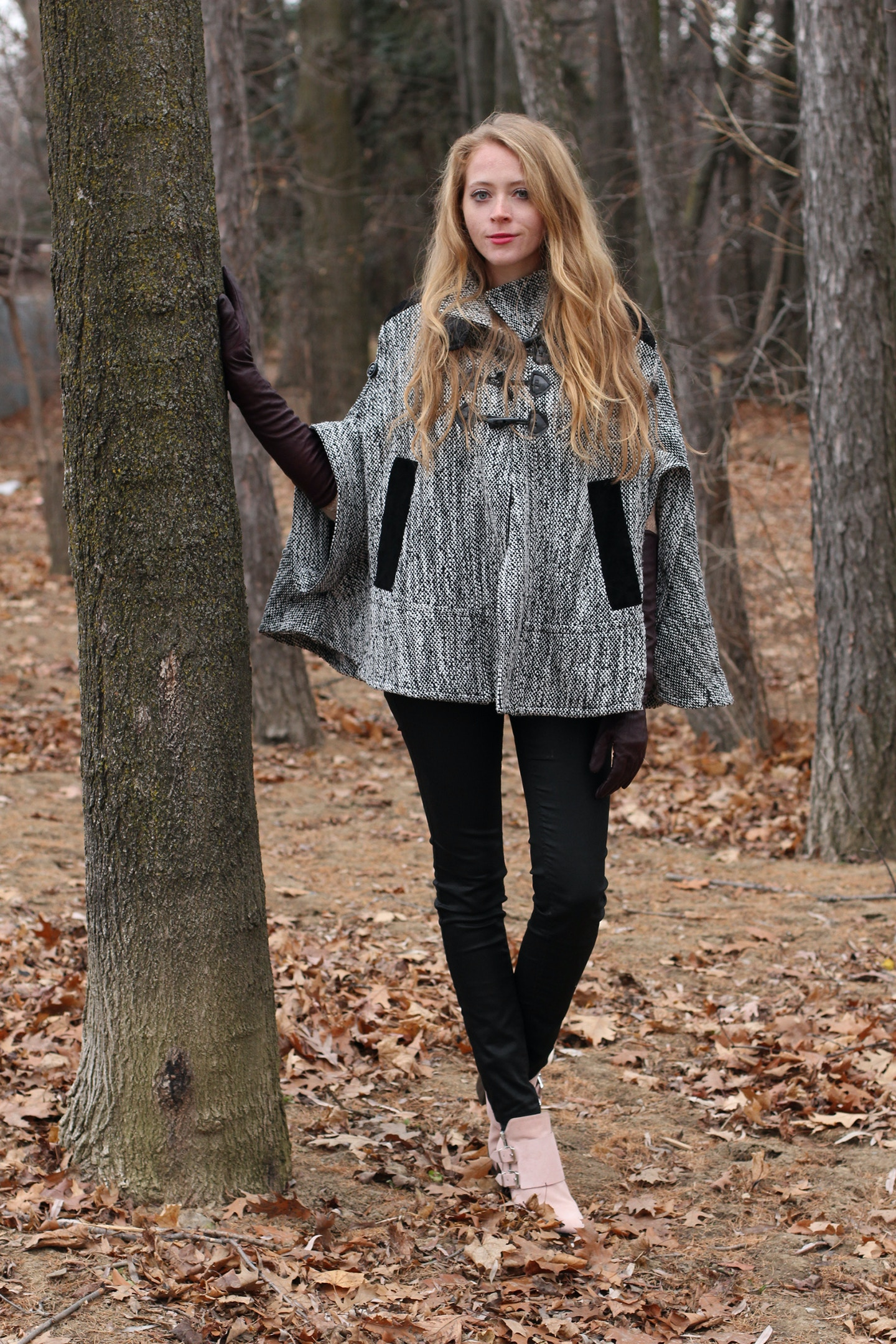 tweed cape with toggles long leather gloves