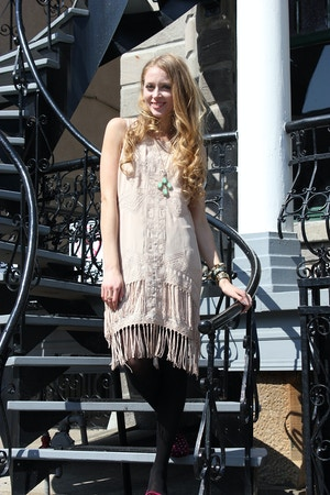 urban outfitters beige fringe dress