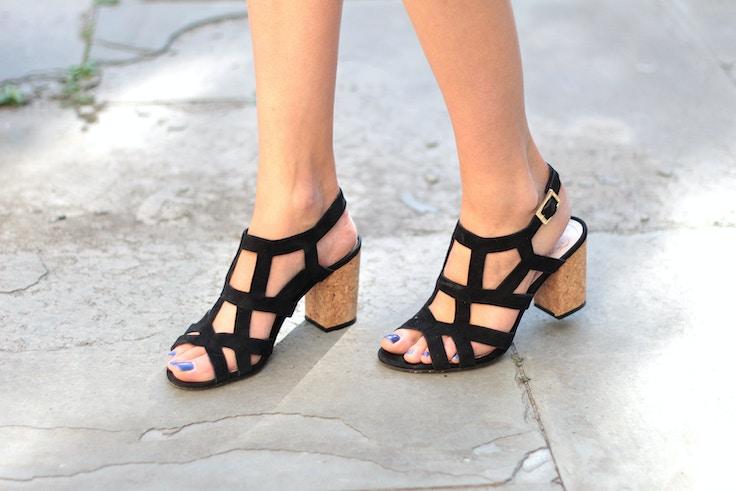 vince camuto suede cork heels