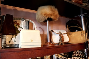 vintage fur hat and handbags
