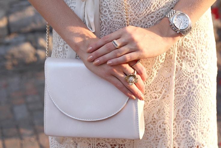 vintage pink handbag sapphire ring