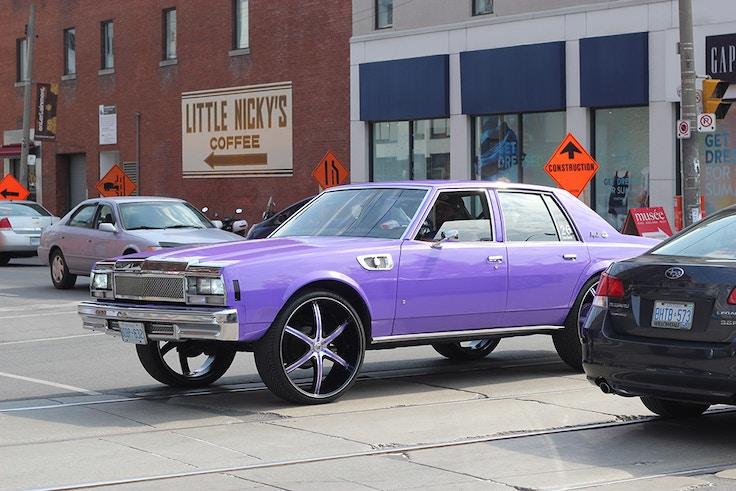 vintage purple muscle car