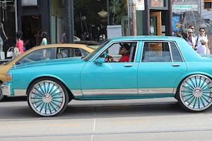 vintage teal blue car