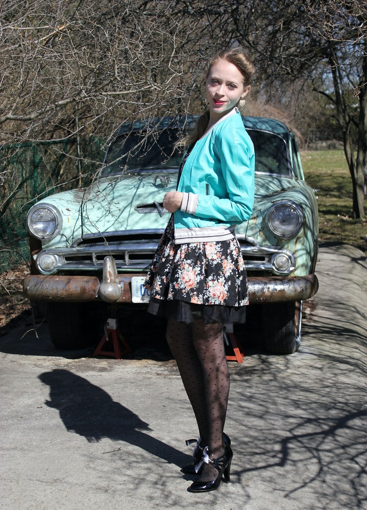 vintage turquoise car