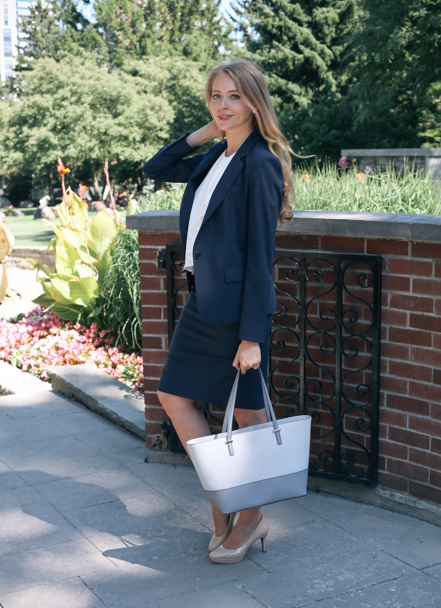 What to wear to an articling interview - this Blue Theory wool skirt suit is very classic and timeless.