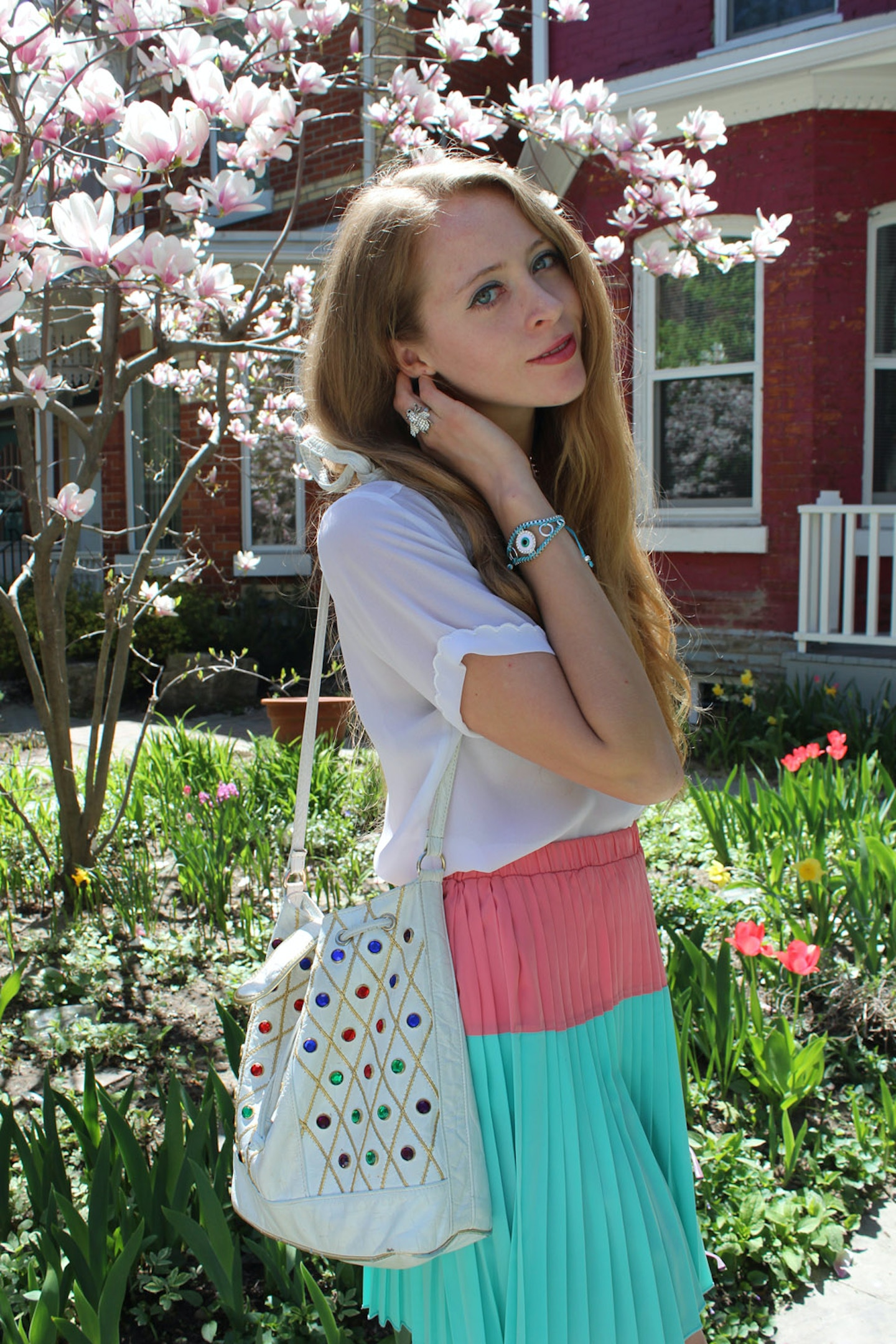 Mint and peach pleated skirt