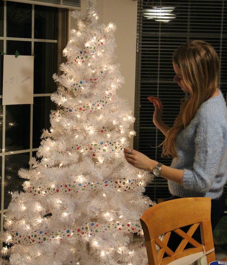 white christmas tree decorating