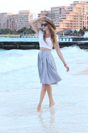 white crop top midi skirt