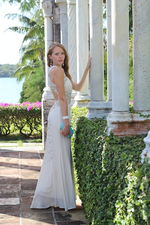 white floor length gown