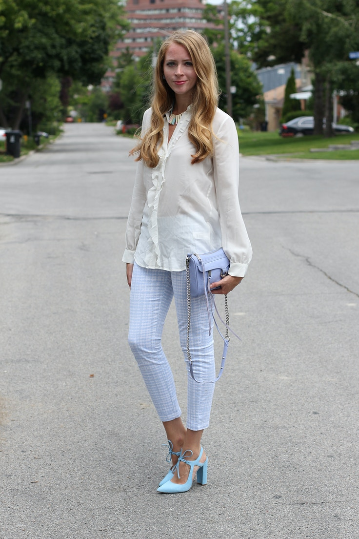 white silk blouse gap trousers periwinkle