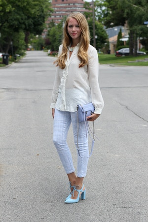 white silk blouse gap trousers periwinkle