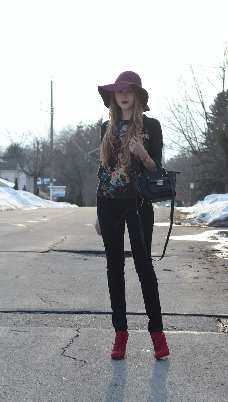 winter floral shirt and black jeans