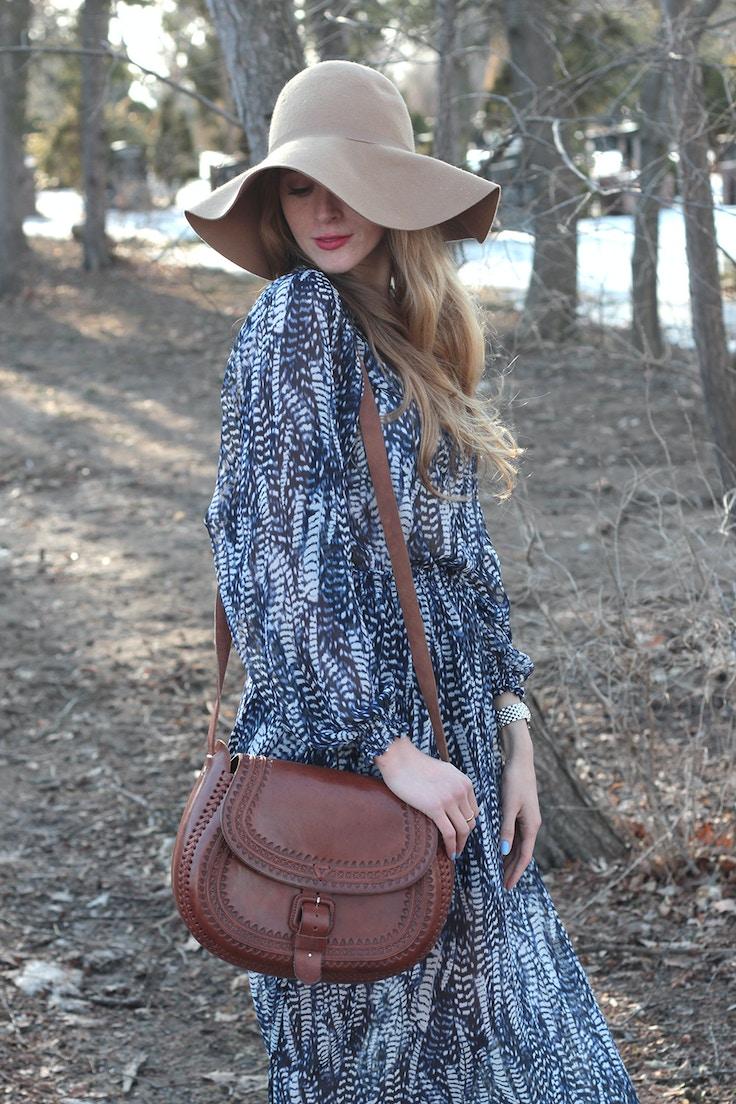 wool floppy hat leather bag