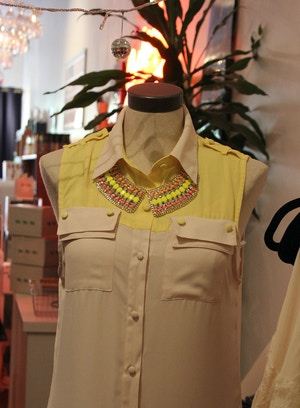 yellow dress and statement necklace