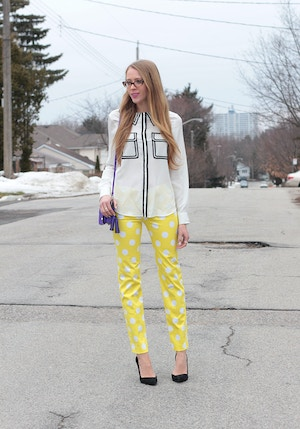 yellow dress pants pink tartan