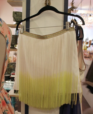 yellow ombre fringe skirt