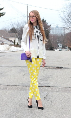 yellow polka-dot pants pink tartan
