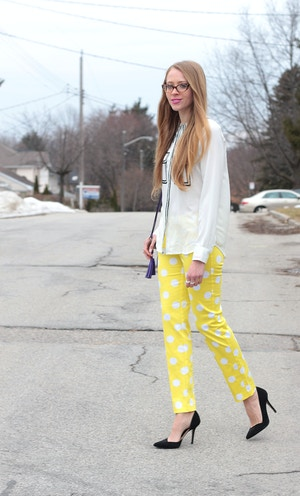 yellow polka-dot pants white shirt