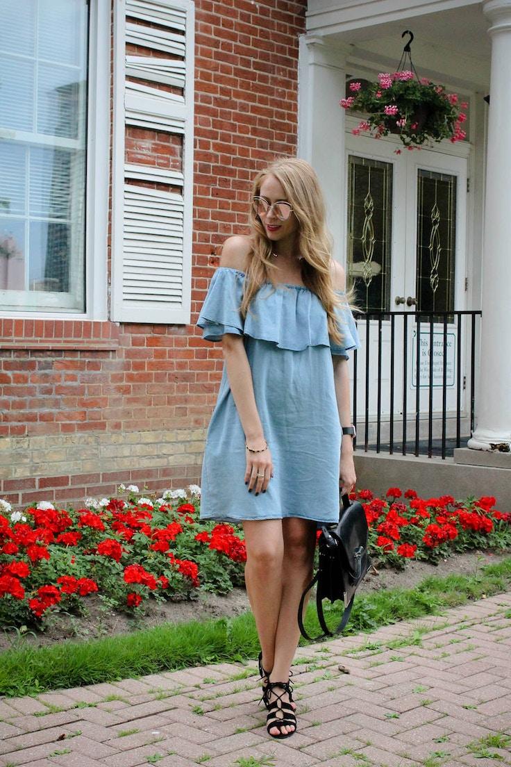 zara chambray ruffle dress outfit (1 of 8)